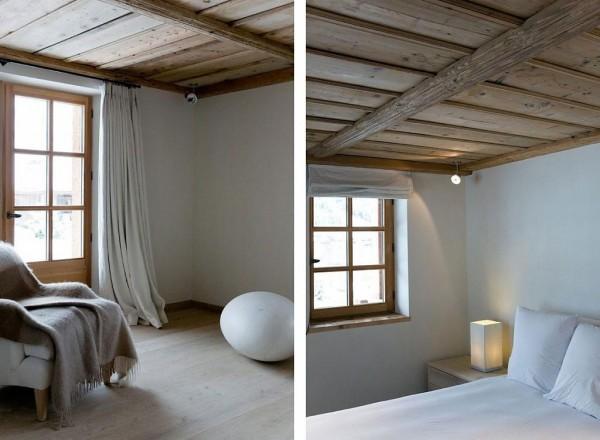 деревянный потолок - в стиле шале.