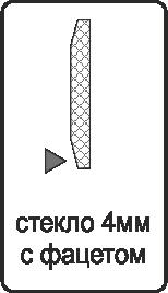 Заполнение стекло 4 мм. с фацетом