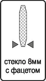Заполнение стекло 8 мм. с фацетом с двух сторон