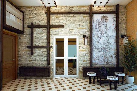 Декоративные балки из массива на стене