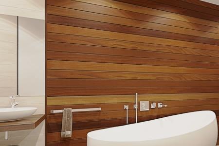 Широкие реечные панели для ванной комнаты